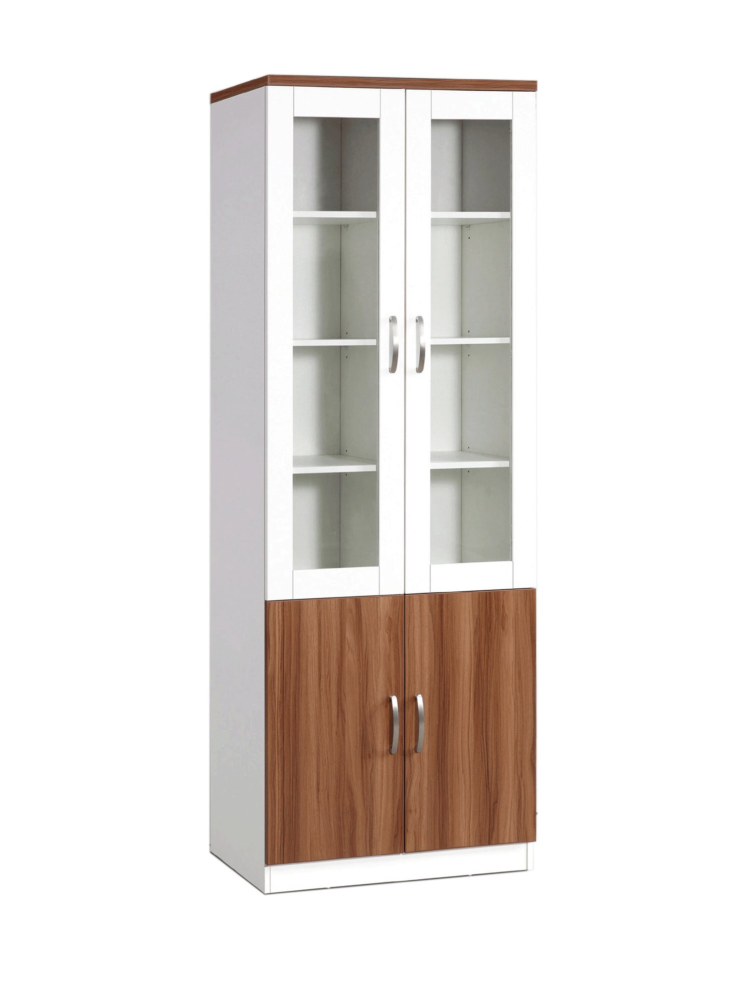 Bianca Glass Display Twin Hinged Doors Cabinet White Oak World Mall Cabinets