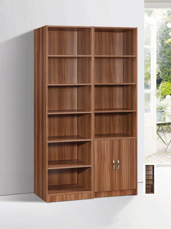 Marrone Book Case Set - White Oak 2 piece 6L & Double Doors display
