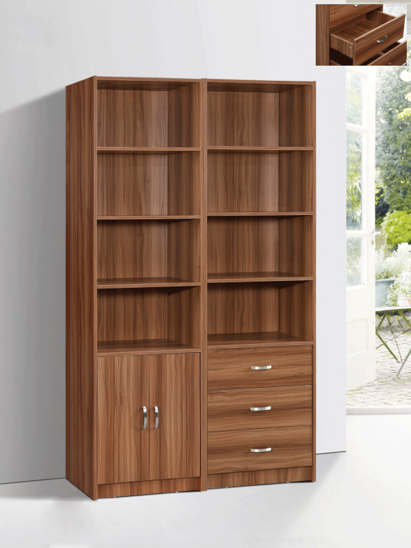 Marrone Book Case Set - White Oak 2 piece Double Doors & Triple Drawers display