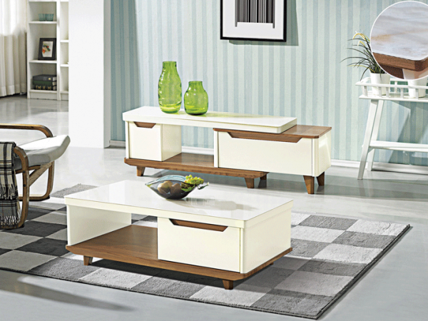 Bianca TV Console Double Drawers and GT Coffee Table - Gloss Glass display