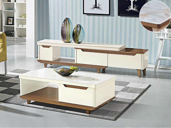 Bianca TV Console Triple Drawers and GT Coffee Table - Gloss Glass display