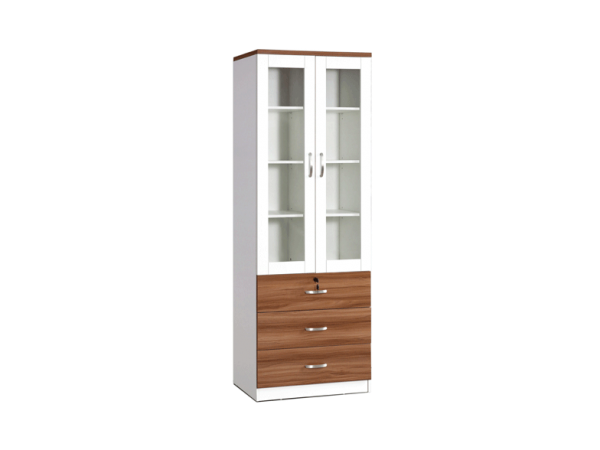 Bianca DD Glass Display Triple Drawers - White Oak display