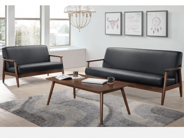 Aperto Coffee Table - American Walnut display with Arm Chair Sofa set