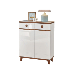 Villetta Twin Shoe Cabinet - Creme Mahogany display
