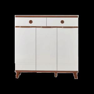 Villetta Terzo Shoe Cabinet - Creme Mahogany display